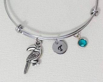 Toucan Bracelet, Parrot Bangle, Initial Bangle, Silver Bangle, Personalized, Expandable, Charm Bracelet, Swarovski Birthstone, BFF, Friend