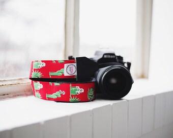 Camera Strap - DSLR Camera Strap - Red Camera Strap - Photographer Gift - Nikon Strap - Canon Strap - Camera Accessory - Flowering Cactus