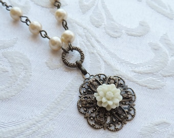 Ivory Mum Flower Necklace with Vintage Beads-50% Off Sale, Antique Brass, Off-whtie