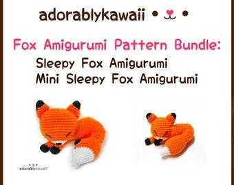 Sleepy Fox Amigurumi Pattern Bundle, Sleepy Fox Amigurumi, Mini Sleepy Fox Amigurumi, Crochet Pattern Bundle, Crochet Plushie Pattern Bundle