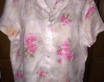 CAROLE LITTLE flax / khaki floral print 100% Linen button front top / blouse / shirt in a size 14