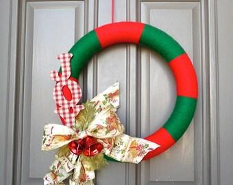 """Christmas """"Joy"""" Yarn Wreath"""