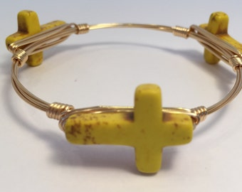 Yellow Magnesite Cross Wire Wrapped Bangle, Cross Wire Wrapped Bracelet, Cross Bangle, Cross Bracelet