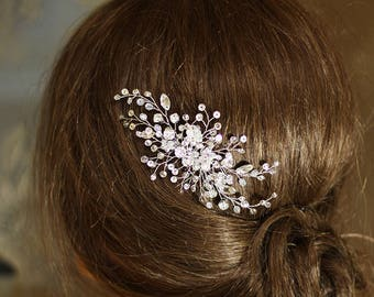 Crystal wedding hair comb Bridal hairpiece Silver Headpiece Sparkling wedding hair accessory Vintage Style Rhinestone Jewelry