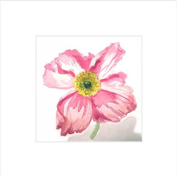 Watercolor flower painting-First Poppy- original by Gretchen Kelly