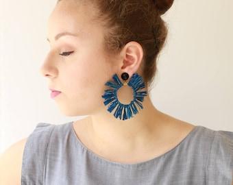 Blau, trendige leichte Creolen, Aussage Ohrringe, Kreis Quaste natürliche Schmuck Hippie Sonne Ohrringe Naama brosh