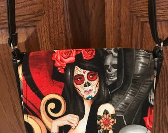 Day of the Dead Sugar Skull Pinup Girl Roses Tattoo  Purse Cross Body Bag