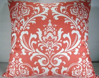 Damask Pillow Coral and White Pillow 20x20 Pillow