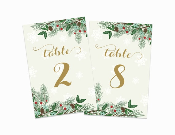 PRINTABLE Winter Table Numbers 1-20 Winter Wedding Christmas