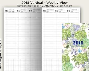 Weekly 2018 Standard Traveler's Notebook VERTICAL - Weekly on 2 Pages - Minimalist Functional - PRINTABLE Insert TN Regular