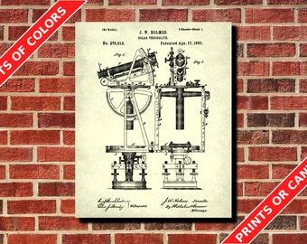 Surveying Poster, Theodolite Patent Print, Vintage Survey Equipment,  Office Wall Art, Surveyor Gift, Solar Theodolite