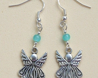 Angel Earrings with Sterling Silver Hooks & Blue Bead New Drops Dangley Pair LB88