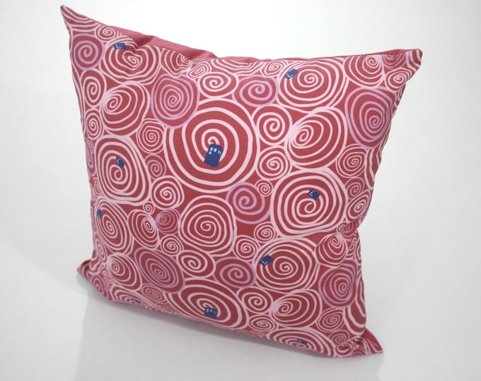 Doctor Who pillow--Swirling Whirling Pink Tardis pillow for nursery or living room