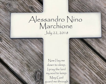 Personalized Christian Cross With Poem- Beautiful Baptism Gift- Customized with Child's Name and Night Prayer