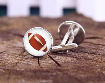 Football Cuff Links, Rugby Cufflinks, Custom Sports Cufflinks,  Rugby Football, Custom Wedding Cuff Links, Groom Cufflinks, Tie Clip Or Set