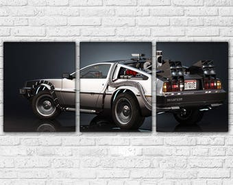 Back to the Future Time Machine  3 Piece Canvas Set