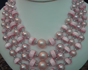 Beautiful Baby Pink Moonglow and Pearl Bead 4 Strand Vintage Necklace