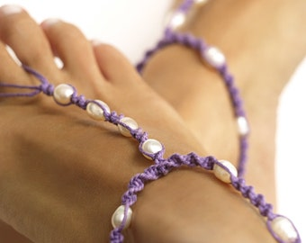 Violet Barefoot Sandal, Beach Wedding Shoes, Pearl Barefoot Sandals, Foot Jewelry, 1 Pair
