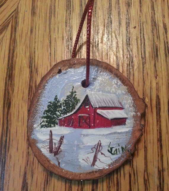 Wood Slice Ornament Hand Painted Featuring An Old Red Barn