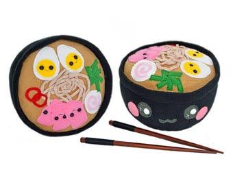 Ramen bowl plushie soft toy plush toy pillow cushion japan japanese food noodles novelty handmade tasty wagamama asian chopsticks miso soup