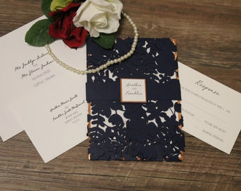 Leaf Cut Quad Fold Wedding Invitation - Choose Your Colors - Customize Your Own