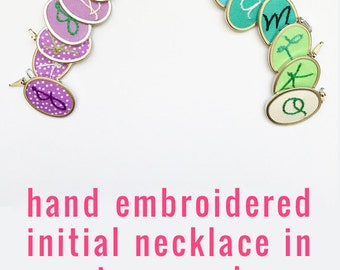Bridesmaid Gift Idea Woman Birthday Gift. Best Friend Gift. Initial Necklace. Non Traditional Jewelry Personalize. Modern Embroidery.