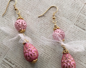 Pink Earrings, Spring Earrings, Pink Earrings, Handmade Jewelry