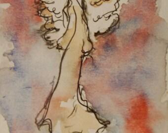 Angel Painting on Paper, Original Painting, Guardian Angel, Small Paintings, Angel Art, Spiritual Art
