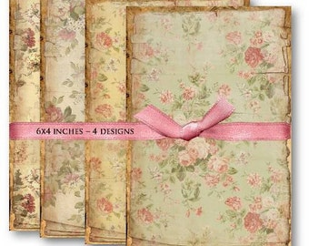 Vintage Floral Backgrounds - Digital Collage Sheet Download -455- Digital Paper - Instant Download Printables