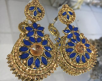 Indian style royal blue and antique gold earrings