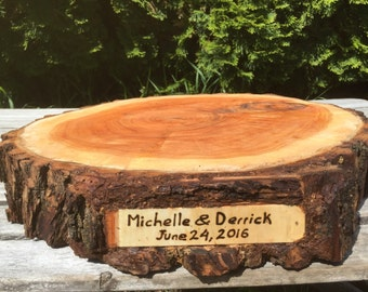 Large Log Willow Wood Slab (15-16 in) Cake Cupcake  Wedding party shower wooden, lumberjack party, boho, live edge round, wild things are