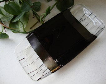 Fused Glass Dish - Tuxedo Collection