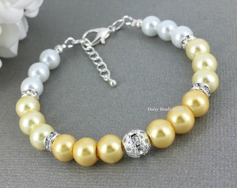 Shades of Yellow Ombre Bracelet Bridesmaid Gift Maid of Honor Jewelry Pearl Bracelet Omber Jewelry for Bridesmaid Jewelry Gift Idea