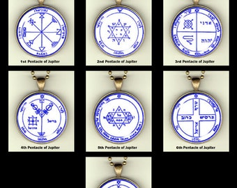 "Pentacles of Jupiter from The Order of the Pentacles, photopendants, 30mm, 24"" chain"