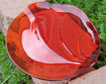 Red glass dish, vintage mid century modernist red glass serving platter, art glass