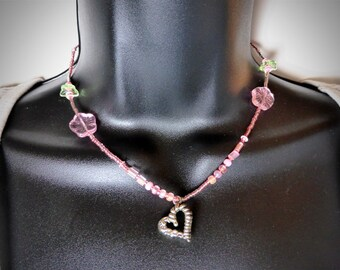 Pink Beaded Spring Love Necklace with Heart Charm