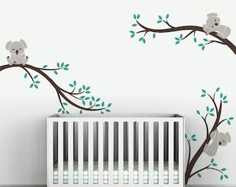 Koala Wall Decal Baby Nursery Modern Decor Removable Wall Sticker Sleepy Koala Bear on Branches