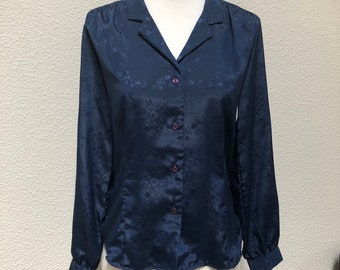 Navy blue floral silky blouse