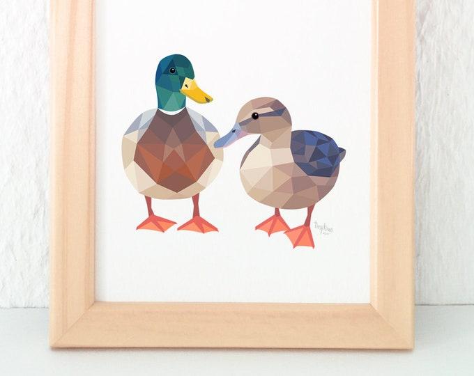Mallard duck print, Duck pair illustration, New Zealand duck, Duck nursery art, Geometric duck, Duck pair print, Duck wall art, Kiwiana art
