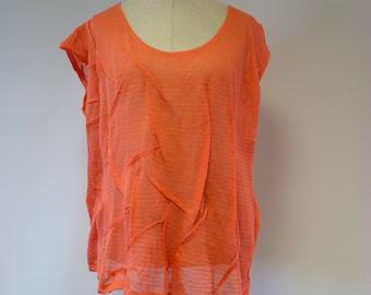 Summer transparent orange linen blouse, XL size.