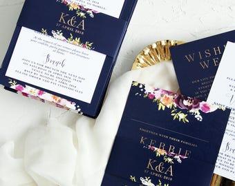 Freya Wedding Invitation Sets, Navy Watercolour Flowers Wedding Invitations, Marsala Burgundy Wedding Invitation Kits, Wedding Stationery