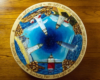 "Massachusetts Lighthouses south shore  Lazy Susan 20"" Handcrafted hand painted heirloom centerpiece"