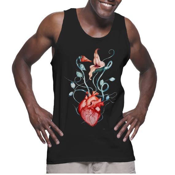 Pink Floyd The Wall Love Flowers   American Apparel Unisex Graphic Tank Top   Rock music fan   Anatomical heart   Psychedelic art  