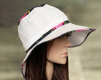 Cotton linen hats, Wide brim sun hat, Sun hat for lady, Large brimmed hats, Womens summer hats, Cotton fabric hats, Hats for summer