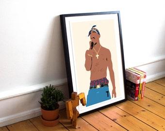Tupac Shakur INSPIRED Poster Print / 2pac Poster Print / Minimalist Art / Tupac Art / Hip Hop poster / Rap Poster / Music Poster / 2pac Art