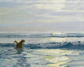 Dog Art Prints - reproduction of an original oil painting of a Golden Retriever - Wet Dog in the Morning