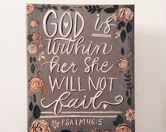 God is within Her Painting Quote Wall Art Canvas Inspirational Wall Decor Baby Girl Room Home Decor