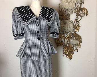 1980s dress peplum dress black and white size medium vintage dress 28 waist puff sleeves sailor collar potrait collar 80s does the 50s