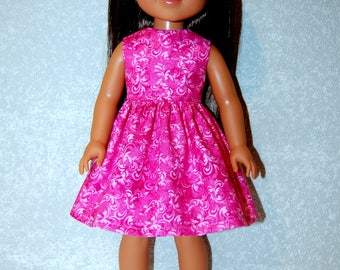 "Dress for 14"" Wellie Wishers or Melissa & Doug handmade Doll Clothes Pink Swirl tkct1195 READY TO SHIP"