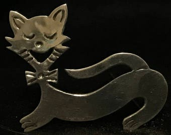 Vintage TAXCO TC-107 Sterling Silver 925 Cat Brooch MARKED